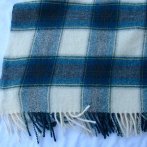 LL Bean Wool Turquoise Plaid Fringed Throw 29x80